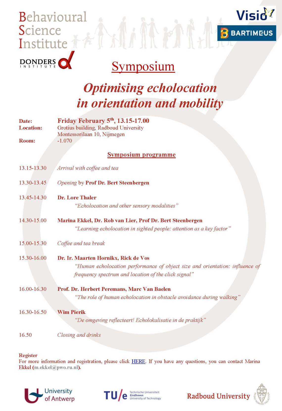 Invitation Symposium Optimising echolocation in orientation and mobility