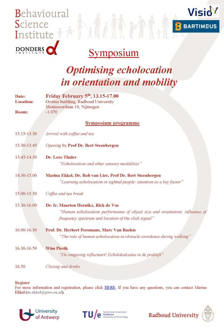 Invitation Symposium Optimising echolocation in orientation and mobility